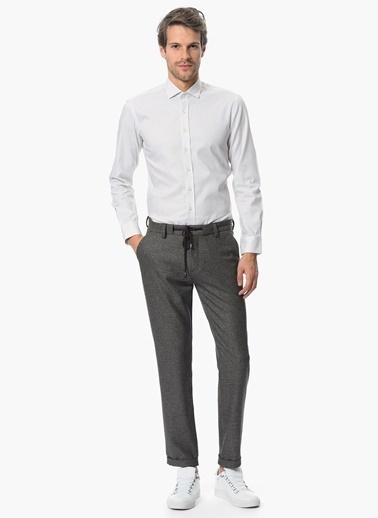NetWork Slim Fit Desenli Gömlek Beyaz